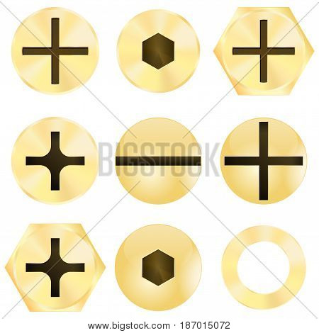 Bronze Screw head. Vector illustration isolated on white background.