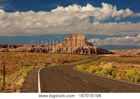 Spectacular landscapes at the entrance to Goblin valley state park in Utah USA