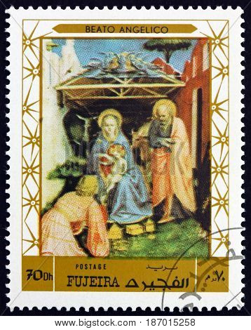 FUJEIRA - CIRCA 1972: a stamp printed in the Fujeira shows Nativity Painting by Beato Angelico circa 1972
