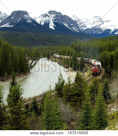 Canadian Pacific Train Traveling through the Rocky Mountains