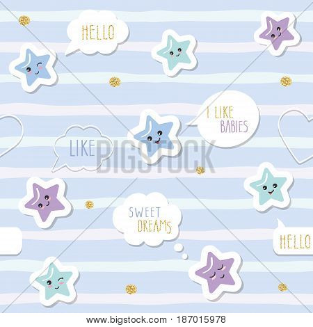 Cute seamless pattern background with cartoon kawaii stars and speech bubbles. For little boys babies clothes pajamas baby shower design. Pastel blue and glitter. Vector