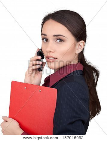 Woman female businesswoman clipboard isolated phone talk talking on phone