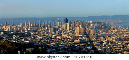 Panorama of San Francisco from the top at sunset