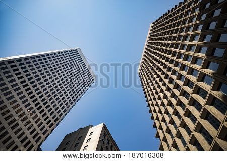 View from below of skyscrapers in Providence Rhode Island