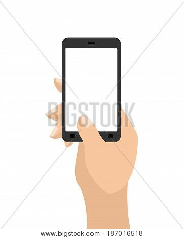 Hand And Mobile Phone. Man Is Holding Smartphone. Technological Template