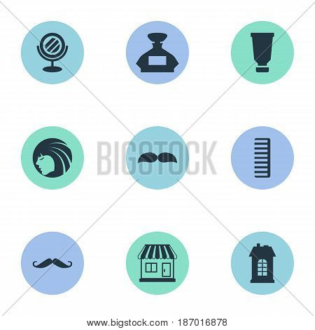 Vector Illustration Set Of Simple Beautician Icons. Elements Scent, Whiskers, Beard And Other Synonyms Tube, Whiskers And Container.