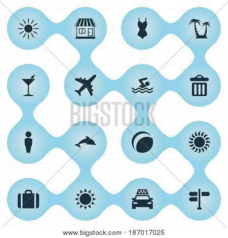 Vector Illustration Set Of Simple Seaside Icons. Elements Airplane, Palm, Sun And Other Synonyms Palm, Ball And Cocktail.