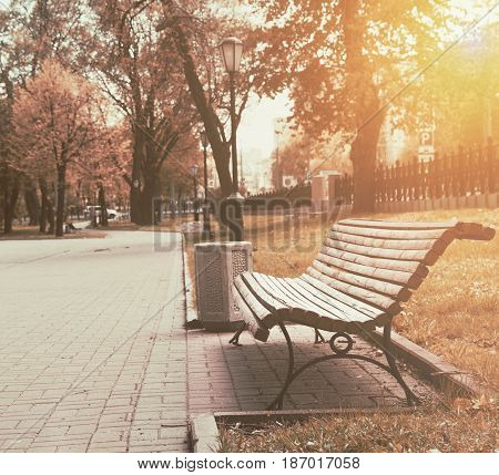 Bench with garbage urn in the city park
