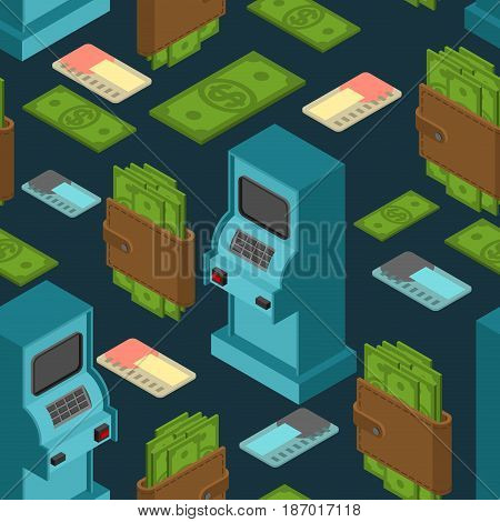 Financial Pattern. Atm And Cash Ornament. Money In Purse Background