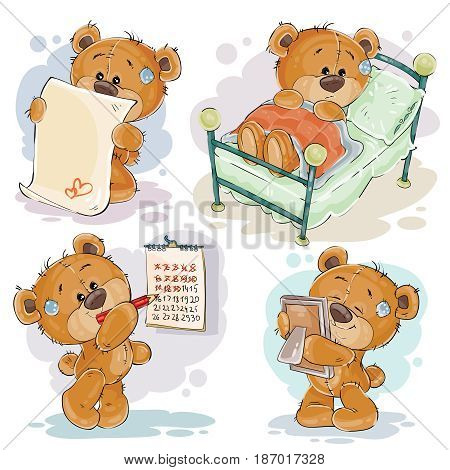 Set of clip art illustrations of bored teddy bears. I miss you