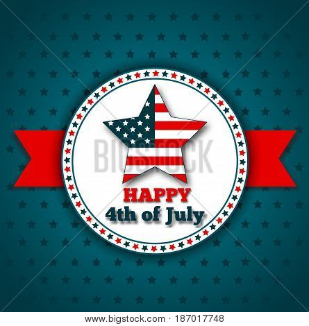 Happy independence day greeting card. 4th of July american patriotic holiday. USA national event banner, july fourth vector illustration.