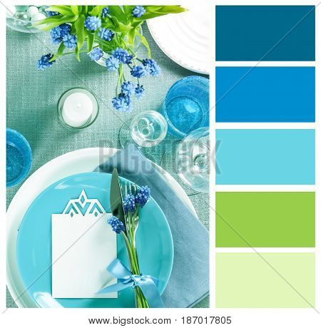 Mint color matching and elegant table setting, closeup