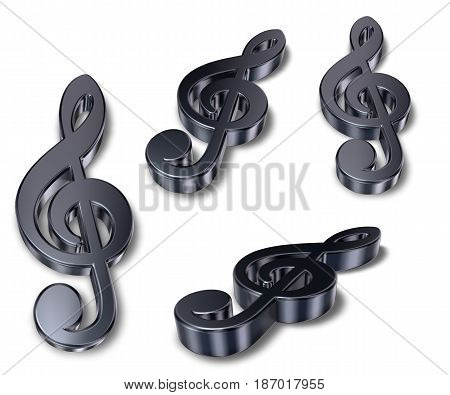 metal clefs on white background - 3d rendering