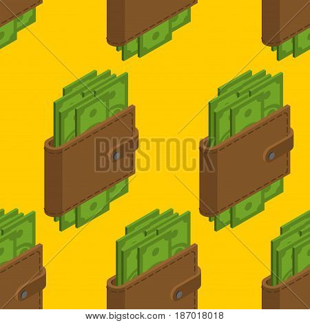 Money In Wallet Seamless Pattern. Cash In Purse Background. Dollars In Pouch Texture. Financial Orna