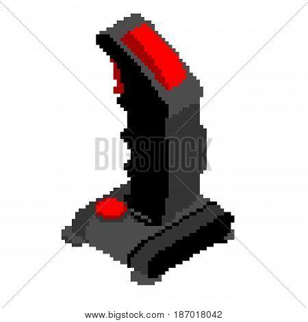 Retro Joystick Pixel Art. Old Gamepad Pixel Steering Wheel For Video Isometry Game. Vintage  Game Co