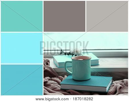 Mint color matching and book with cup near window