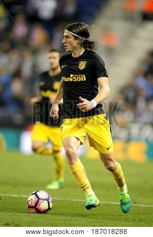 BARCELONA, SPAIN - MAY, 6: Filipe Luis Kasmirski of Atletico de Madrid during a Spanish League match against RCD Espanyol at the RCDE Stadium on May 6 2017 in Barcelona Spain