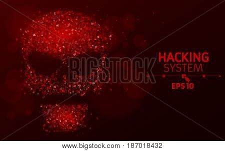 Hacking system. Abstract luminous skull of red color from programming symbols. Hexadecimal number system. The data is under threat. Vector illustration. EPS 10