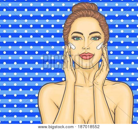 Pop Art illustration of a beautiful young woman makes a face massage