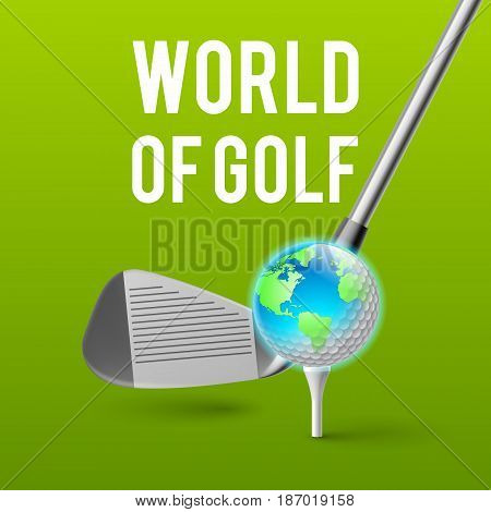 Concept Golf Tournament World. Illustration on Green