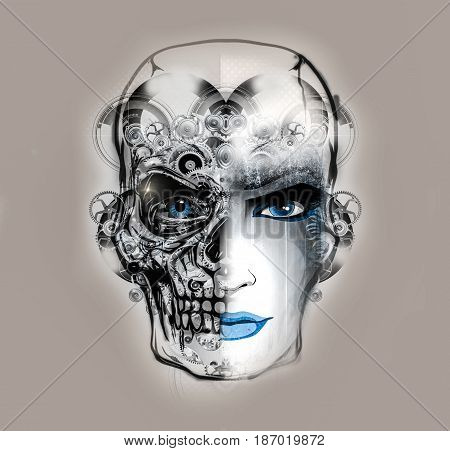 abstract female face and mistic futuristic background