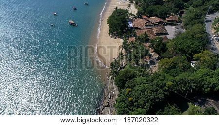 Aerial View of Pinto Beach in Ilhabela, Brazil