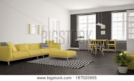 Bright minimalist living room with sofa and dining table scandinavian white and yellow interior design, 3d illustration