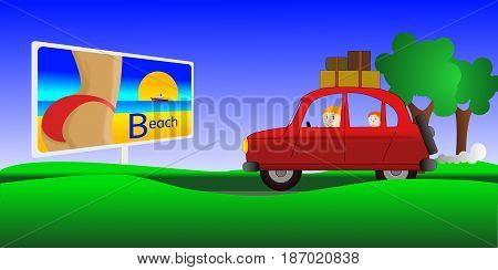 family departure in holidays by a car