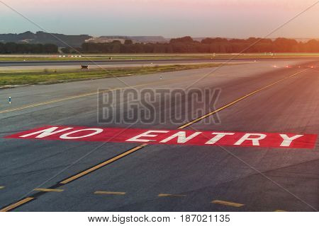 Landing light. Directional sign markings. Markings on the tarmac of runway at a commercial airport