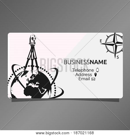 Business card of Geodesy and Cartography. A geodetic device and a wind rose.