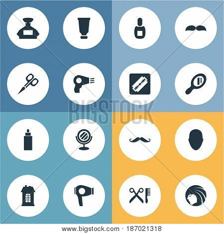 Vector Illustration Set Of Simple Beautician Icons. Elements Container, Drying Machine, Whiskers And Other Synonyms Scissors, Razor And Barbershop.