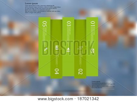 Illustration infographic template with motif of rectangle vertically divided to five shifted green sections with simple sign number and sample text. Blurred photo is used as background.