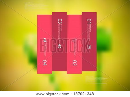 Illustration infographic template with motif of rectangle vertically divided to four shifted red sections with simple sign number and sample text. Blurred photo is used as background.