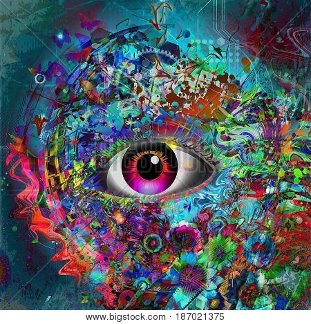 Magic mistic  eye on abstract colorful background