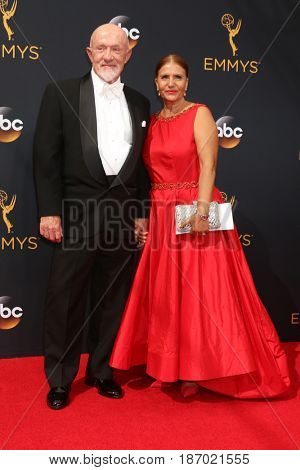 LOS ANGELES - SEP 18:  Jonathan Banks, wife at the 2016 Primetime Emmy Awards - Arrivals at the Microsoft Theater on September 18, 2016 in Los Angeles, CA