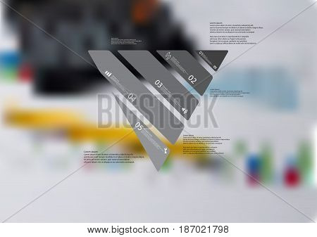 Illustration infographic template with motif of triangle askew divided to five standalone grey sections with simple sign number and sample text. Blurred photo is used as background.