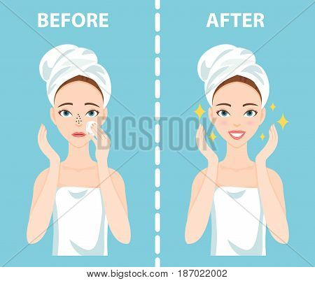 Before-After set of upset troubled and happy woman with female facial skin problems needs to care about: blackheads, clogged nose pores.