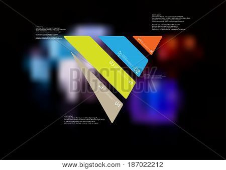 Illustration infographic template with motif of triangle askew divided to four standalone color sections with simple sign number and sample text. Blurred photo is used as background.