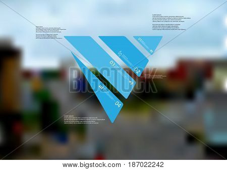Illustration infographic template with motif of triangle askew divided to four standalone blue sections with simple sign number and sample text. Blurred photo is used as background.
