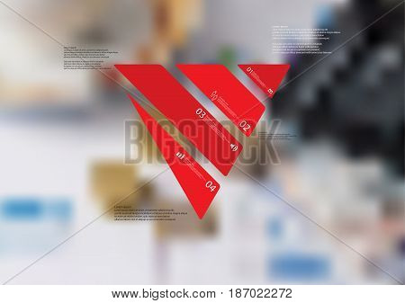 Illustration infographic template with motif of triangle askew divided to four standalone red sections with simple sign number and sample text. Blurred photo is used as background.