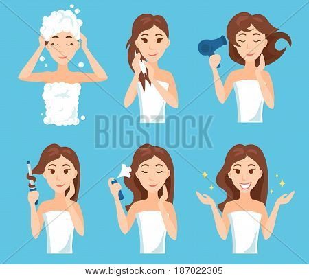 Attractive young woman wash, care and style her hair. Hair treatment procedures.
