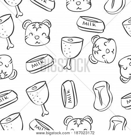 Pattern with funny cat hand draw vector illustration