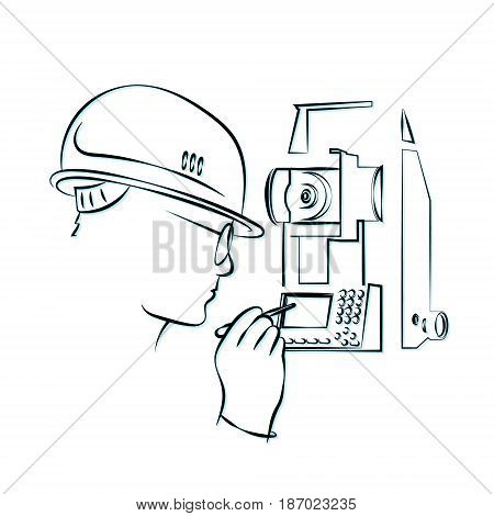 Surveying and geodetic instrument silhouette Business vector