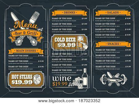 illustration template flyer for the restaurant, cafe, bar menu