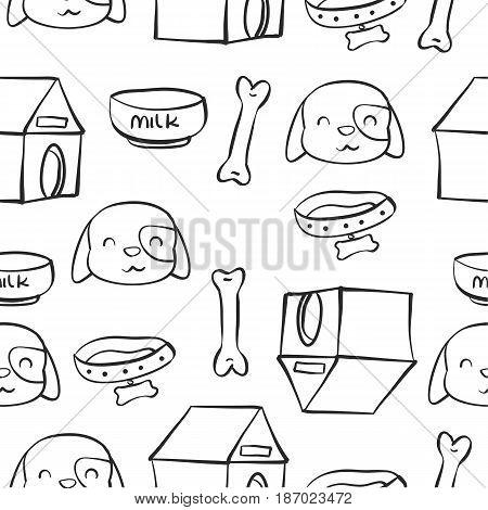Doodle of dog pet vector art hand draw
