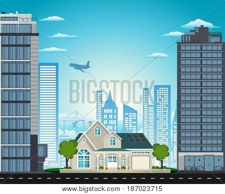 The big house in the city house between skyscrapers vector illustration.
