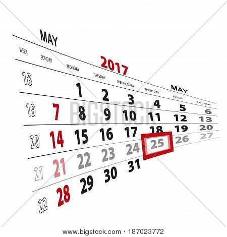 May 25, Highlighted On 2017 Calendar.