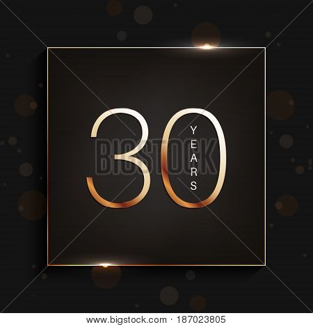 30 years anniversary gold banner on dark background. Vector illustration.