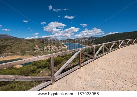 Viewpoint in a natural landscape in Palencia mountains Castilla y Leon Spain.