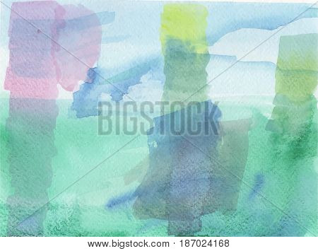 Blue green vector background with colorful brush strokes visible.